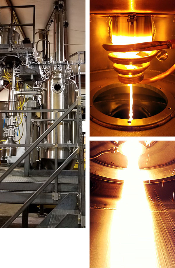 Views of induction bar feed gas atomizer for titanium powder; the bar melt in action; the atomizer in action